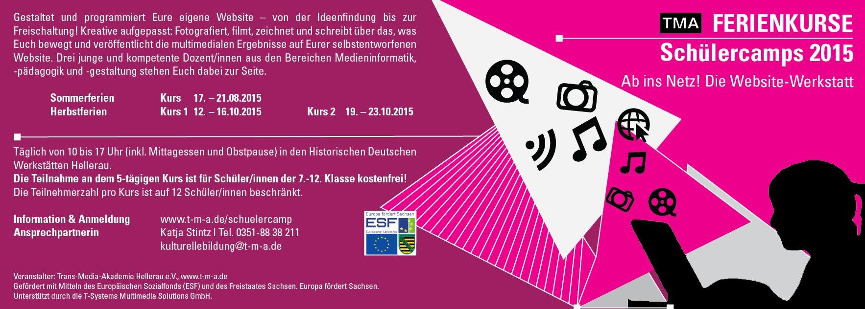 Flyer Schülercamp > Ab ins Netz! Website-Werkstatt Dresden
