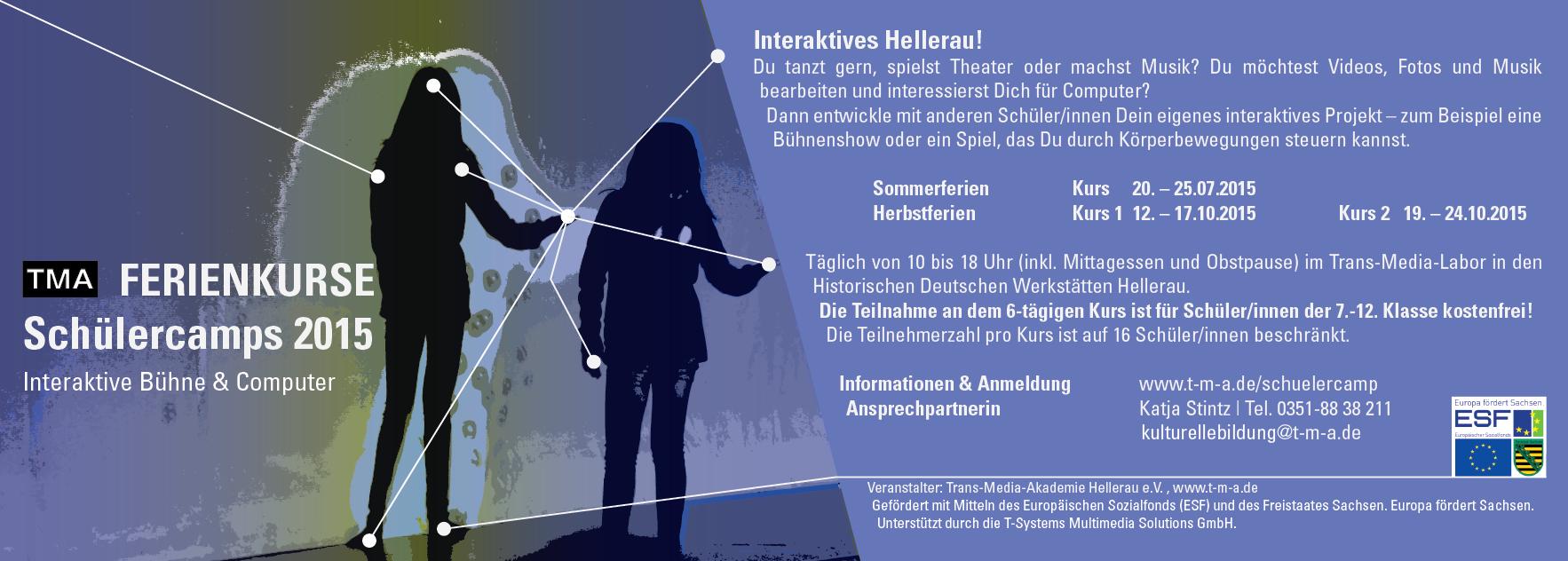 Flyer TMA Schülercamp 2015 Interaktive Bühne Dresden