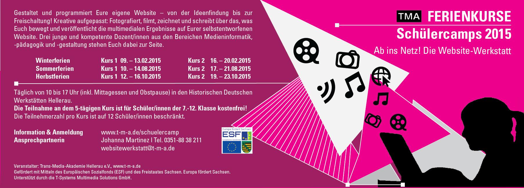 Flyer Schülercamp Ab ins Netz! Website-Werkstatt Dresden